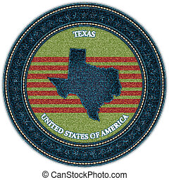 Label with map of texas. Denim style. Vector eps10