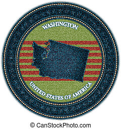 Label with map of washington. Denim style. Vector eps10