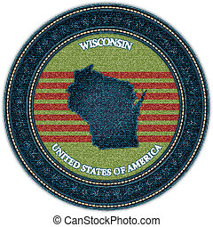 Label with map of wisconsin. Denim style. Vector eps10