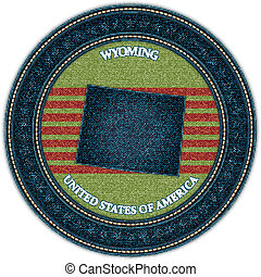 Label with map of wyoming. Denim style. Vector eps10