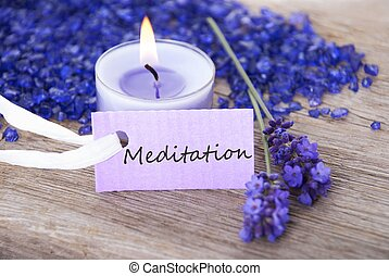 label with meditation on it - a purple label with the word...