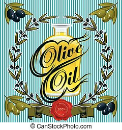 label with olive oil, sprigs of oli
