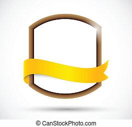 Label with orange ribbon