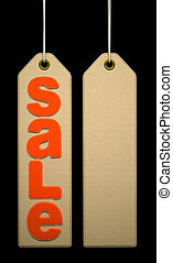 Label with orange SALE word on black background