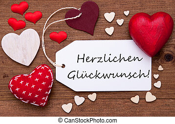 Label With Red Hearts, Glueckwunsch Means Congratulations -...