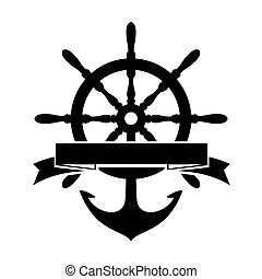 Steering Wheel and Anchor - Label with Steering Wheel and ...