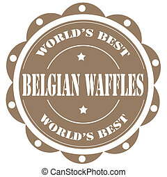 Belgian Waffles - Label with text Belgian Waffles,vector...