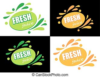 Label with text Fresh juice