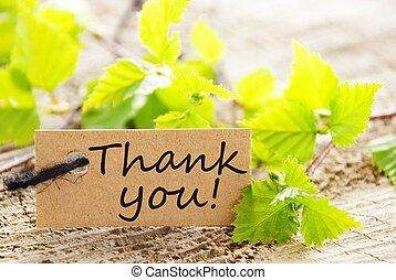 label with thank you! - a natural looking label with thank...