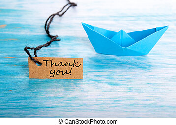 Label with Thank You and a Boat