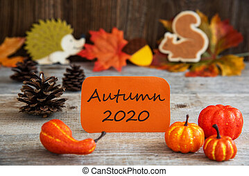 Label With Thanksgiving Decoration, English Text Autumn 2020...