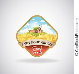 Label with the image of a farm