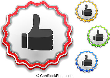 Label with thumbs up symbol