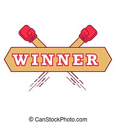 Label with white letters in the word winner with red boxing gloves. Vector illustration isolated on white background.