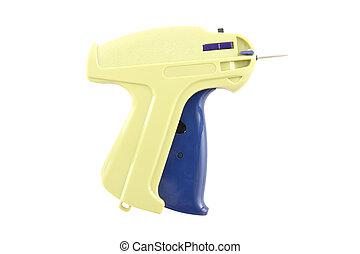 Labeling nail gun on white background.