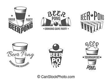 labels., ビール, ベクトル, パーティー, いやなにおいがしなさい, バッジ