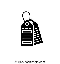 Labels black icon, vector sign on isolated background. Labels concept symbol, illustration