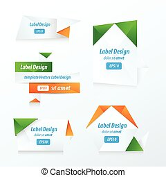 Labels collection set green, blue, orange