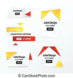 Labels collection set red, yellow, black color