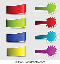 Labels collections - Collection of colorful labels with drop...