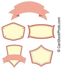 Labels - Different patterns of pink color banners