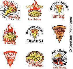 labels., emblem, elemente, pizza, pfahl, satz, zeichen, design, logo