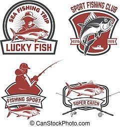 labels., emblem, elemente, thunfisch, fester entwurf, graus, fischerei, logo