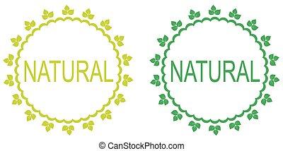 labels., ensemble, naturel, vert