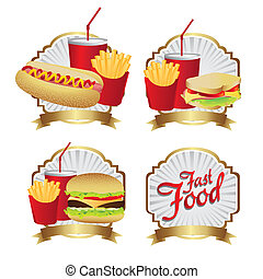 labels fast food combo with a burguer french fries, soda, ...