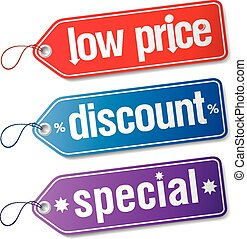 Set of labels for discount sales.