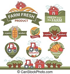 Labels for farm market products. - Set of labels for farm...