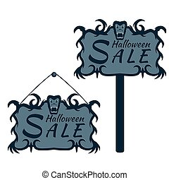 labels for sales on Halloween
