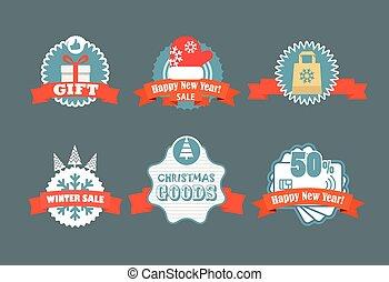 labels., la, hiver, escompte, vecteur, étiquettes, vendange