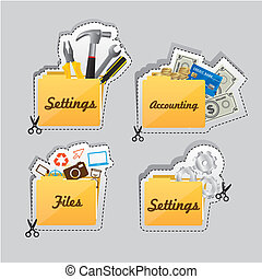 Labels of different types of icons - Label cutting lines of...