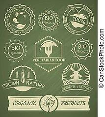 labels., organisch, kentekens, set