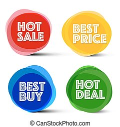 Labels Red, Blue, Orange and Green Business Icons. Hot Sale, Best Price, Best Buy and Hot Deal Tags.