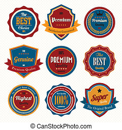 labels., retro, ensemble, insignes, vendange