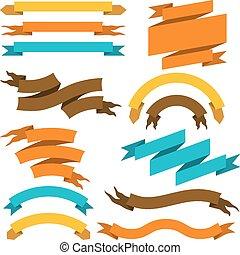 labels., retro, illustratie, linten, set, vector