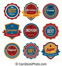 labels., retro, komplet, symbole, rocznik wina