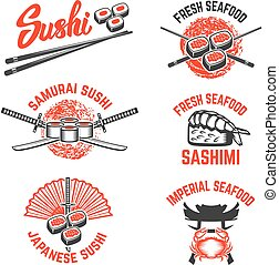 labels., samouraï, ele, sushi, ensemble, seafood., conception, sword., japonaise
