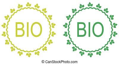 labels., set, bio, groene