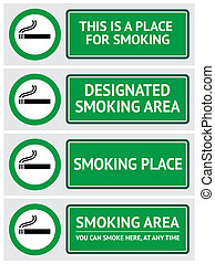 Labels set smoking place stickers