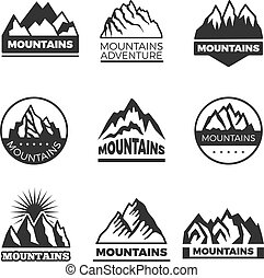 Labels set with different illustrations of mountains. Templates for logos design