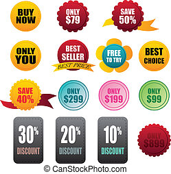 labels stickers business on white background