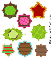 labels, various shapes and colors
