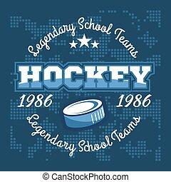 labels., vecteur, championnat, logo, conception, hockey, sport