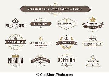 labels., vendange, insignes, ensemble