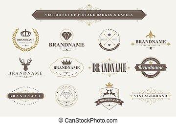 labels., vendemmia, tesserati magnetici, set