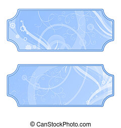 Labels with flourishes, blue pastel