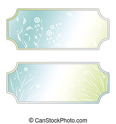 Labels with flourishes, green, blue, white